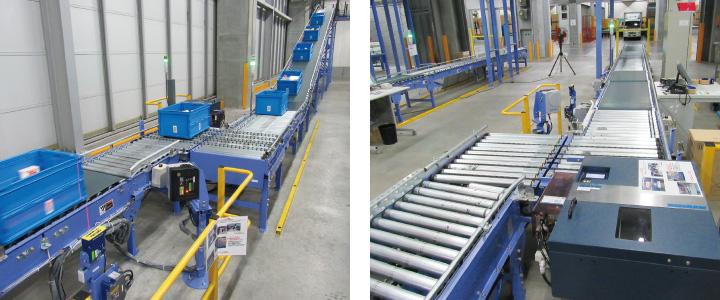 左:総量仕分けゾーンの一次検品エリアに搬送右:通過型商品はトラックから直接入荷レーンに投入