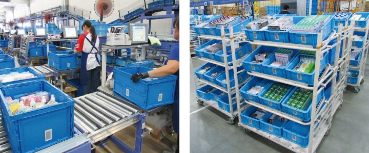 仮取箱に入っているバラ商品の1次検品(左写真) トレイは同社が独自に開発した専用台車《12トレイ積載》にセット(右写真)